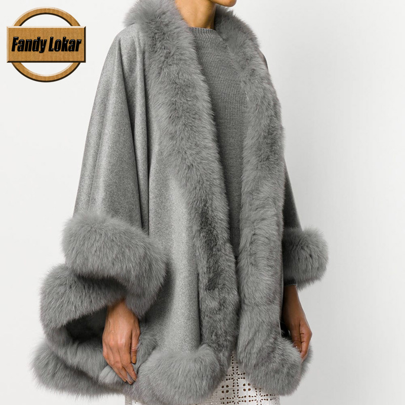 Fandy Lokar Natural Fox Fur Collar Women Wool Blend Ponchos Woman Real Fur Capes Femal Wool Ponchos Capes Warm Shawl Coats Woman
