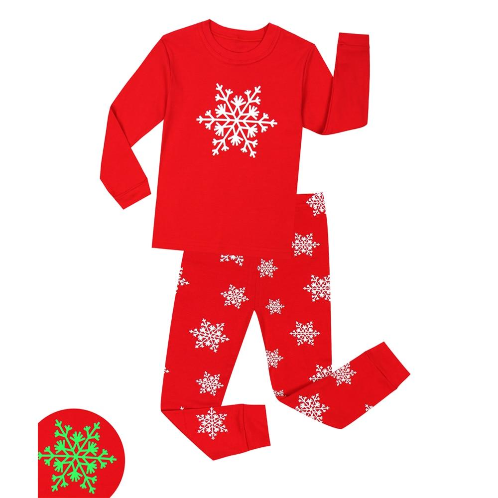 Baby Luminous Clothing Glow in Dark Pajamas Sets Children Merry Christmas  Sleepwear Boys Girls Snowflake Nightwear For 2-8 Years 612778e39