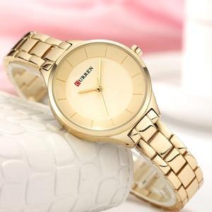 Image 2 - 2019 Curren Women Watches Luxury Gold Black Full Steel Dress Jewelry Quartz Watch Ladies Fashion Elegant Clock Relogio Feminino
