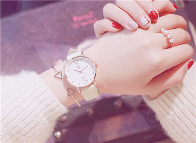 Ins cherry powder test watch female middle school students Korean version of the simple Sen trend retro cute soft sister ins cherry powder test watch women junior high school students korean version of the simple dream trend retro cute soft sister