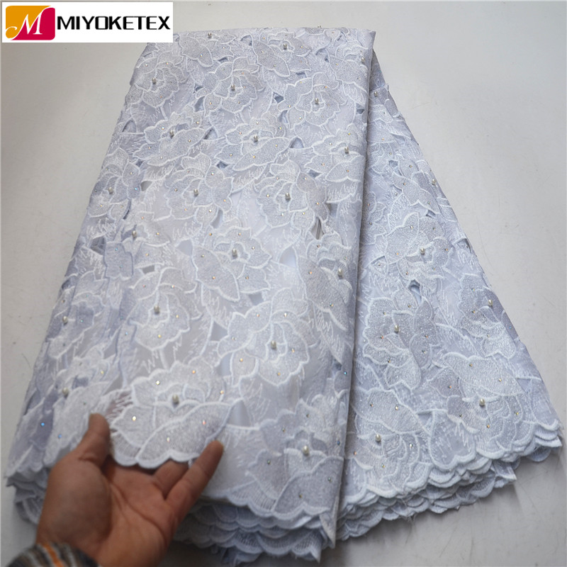 African French Organza Lace Fabric With Beads And Stones For Dress Nigerian Lace Fabrics With Tulle
