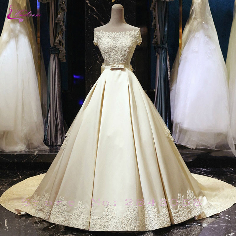 Waulizane Lustrous Satin Boat Neck A Line Wedding Dress Beading Pearls Appliques Lace Off The Shoulder