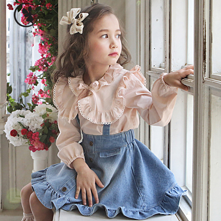 Spring Autumn Girls Children Lotus Leaf Sleeve Shirt Denim Overall Suit 2 Pieces