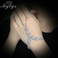 Mytys גביש הגדרת שיניים צמח צמיד עבדים עיצוב נשים אופנה חדשה קאף צמיד Connect R1180 אצבע
