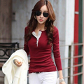 New 2016 winter autumn woman lady casual cotton t shirt tee top long sleeve T-shirt buttons solid basic OL blusas fashion S~XXL