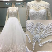 Long sleeves Off the shoulder Crystal Beading Luxurious Wedding Dresses Ball Gowns Elegant Bridal Gowns 2017 New Design
