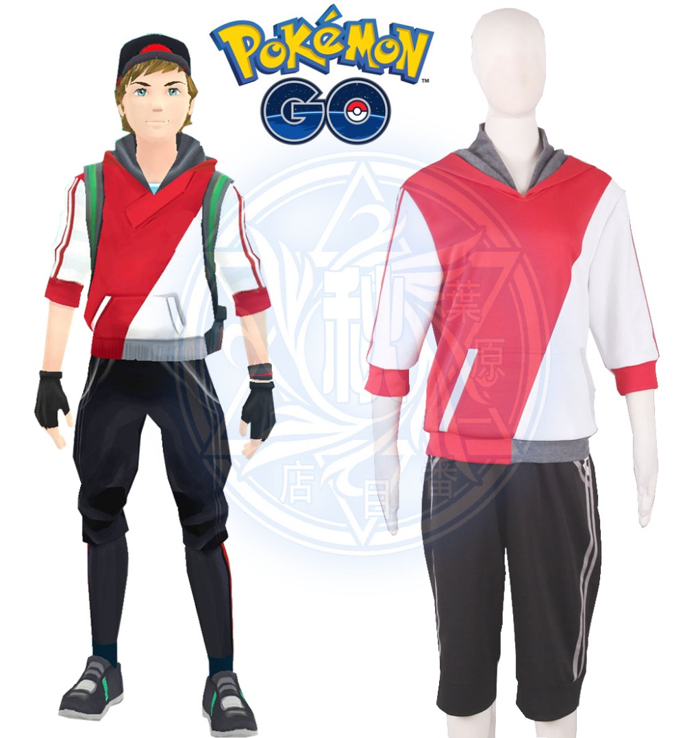 Free Shipping Pocket Monster Game Pokemon Go Male Trainer Avatar Anime Cosplay Costume