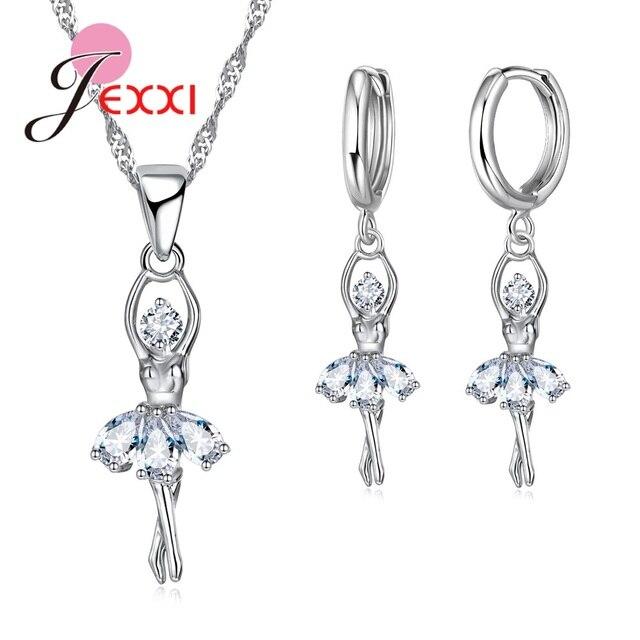 JEXXI Cute Ballet Dancer S90 Silver Bridal Jewelry Set Cubic Zircon Necklace Pen
