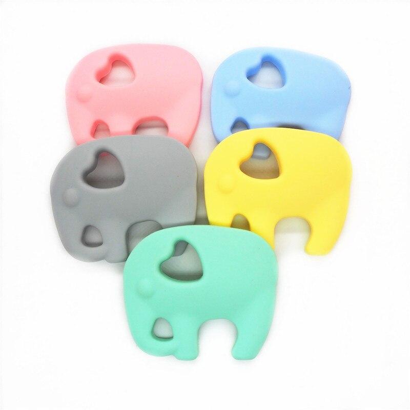 Chenkai 2PCS Silicone Elephant Teether DIY Baby Animal Pacifier Dummy Teething Nursing Soother Sensory Jewelry Toy Gift BPA Free