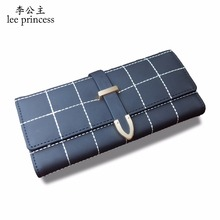 hot deal buy lee princess women luxury long wallet plaid purse for girls with coin purses card holders ladies phone bag slim wallets female
