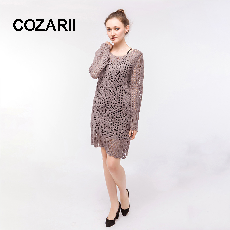 Casual round neck long knitted sweater dress cotton slender dress pullover female autumn and winter dresses perspective dress