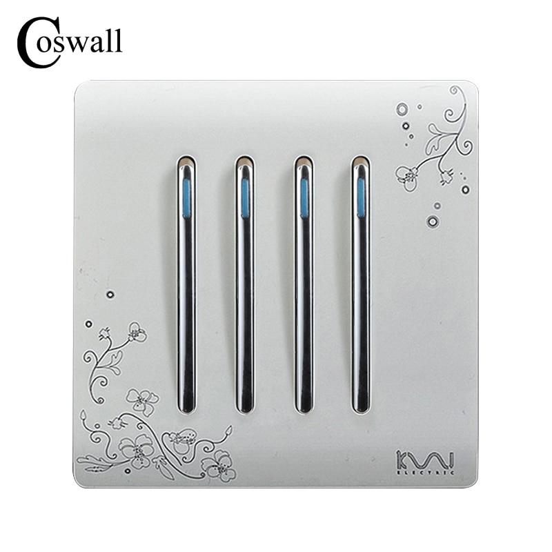 COSWALL Wall Push Button Light Switch 4 Gang 1 Way Ivory White Brief Art Fashion Pattern Piano Key Switch AC 110~250V