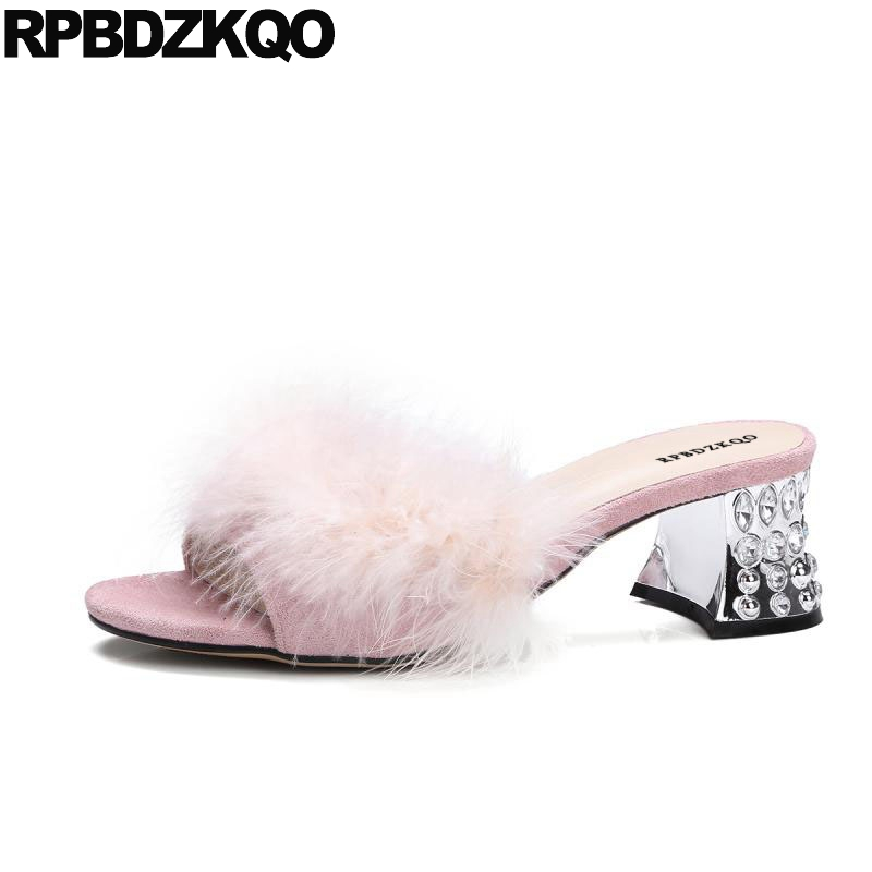8bc9751b5f8 Kawaii Pink Big Size Crystal Designer Shoes Women Luxury 2017 Feather Slides  Fluffy High Heels Furry Pumps Block Fur Sandals