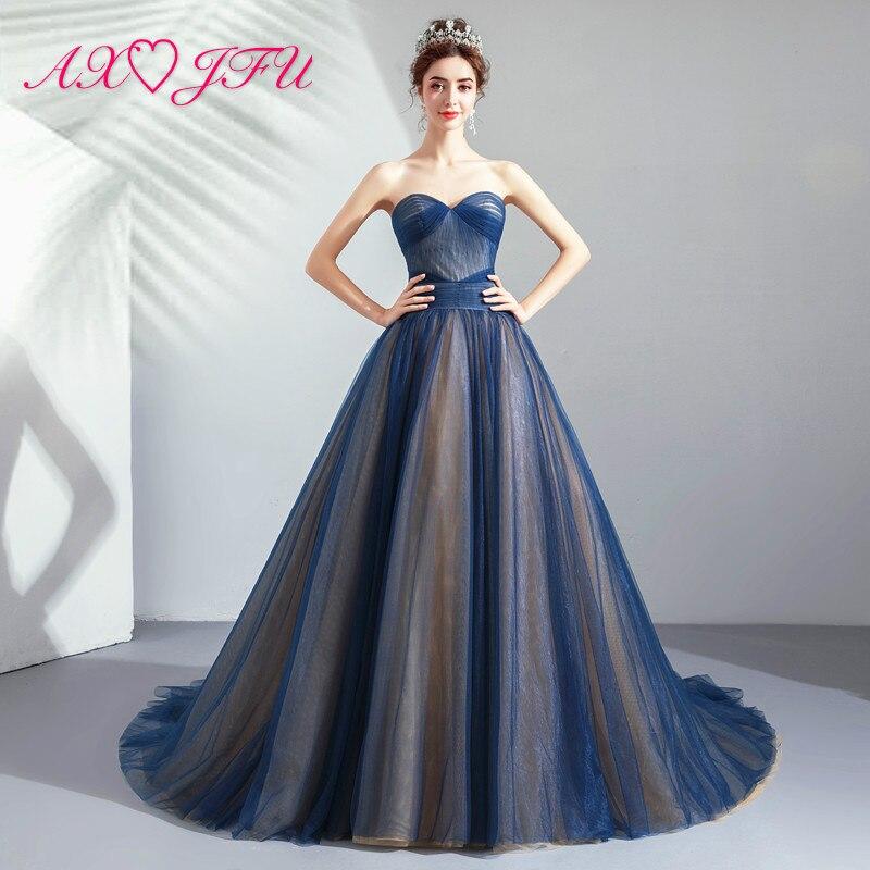 AXJFU princess navy blue lace   evening     dress   Elegant Indigo Dinner Annual Performance Host Tail vintage   evening     Dress   1666