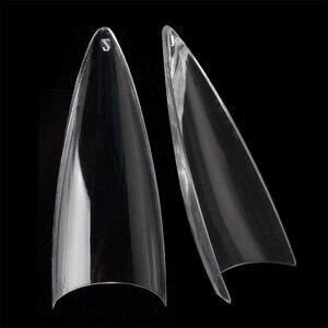 Image 1 - Flach Lange Stiletto Falsche Nagel Tipps Klar Acryl Halb Abdeckung Fingerspitzen Mode Stil 504 teile/schachtel