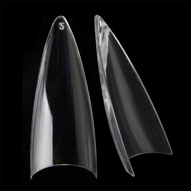 Flach Lange Stiletto Falsche Nagel Tipps Klar Acryl Halb Abdeckung Fingerspitzen Mode Stil 504 teile/schachtel
