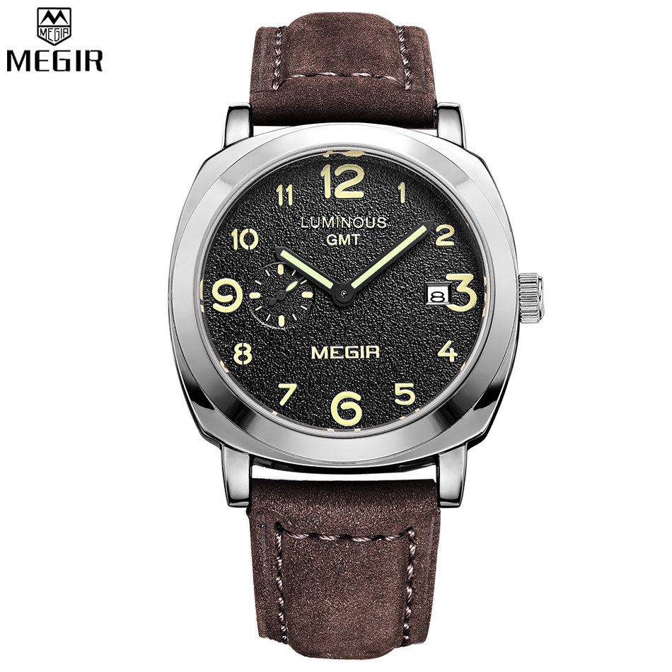 MEGIR Brand Fashion Men Sports Watches Men's Quartz Hour Clock Men Leather Strap Waterproof Wrist Watch Male Relogio /MG1046BS new listing men watch luxury brand watches quartz clock fashion leather belts watch cheap sports wristwatch relogio male gift