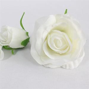Image 2 - DIY 인공 장미 꽃 머리 실크 장식 꽃 호텔 배경 도로 주도 결혼식 꽃 벽 재료 머리 100 개/몫