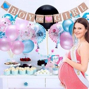 Image 4 - 64 Stks/partij Geslacht Onthullen Ballon Feestartikelen 36 Inch Geslacht Onthullen Jongen Of Meisje Banner Confetti Folie Ballon