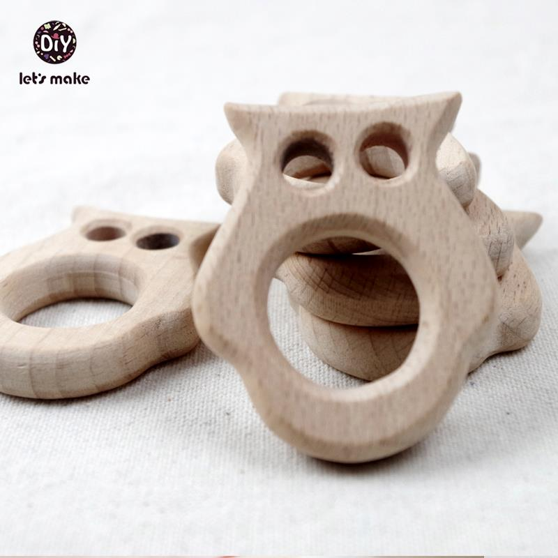 Let's make 10PCS  Wooden Teether Owl Pendent Natural Beech Wooden Toy Hand Cut DIY Accessories