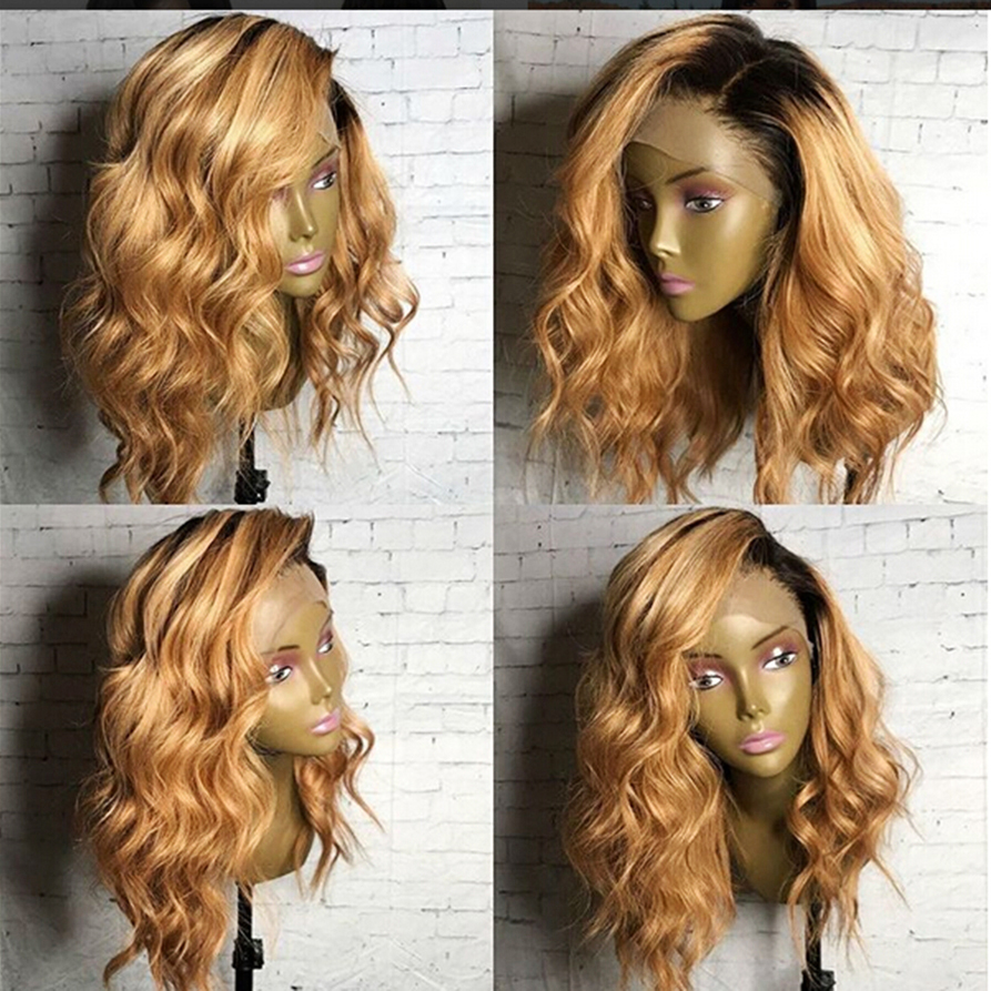 Two Tone Blonde Human Hair Full Lace Wigs Ombre Lace Front