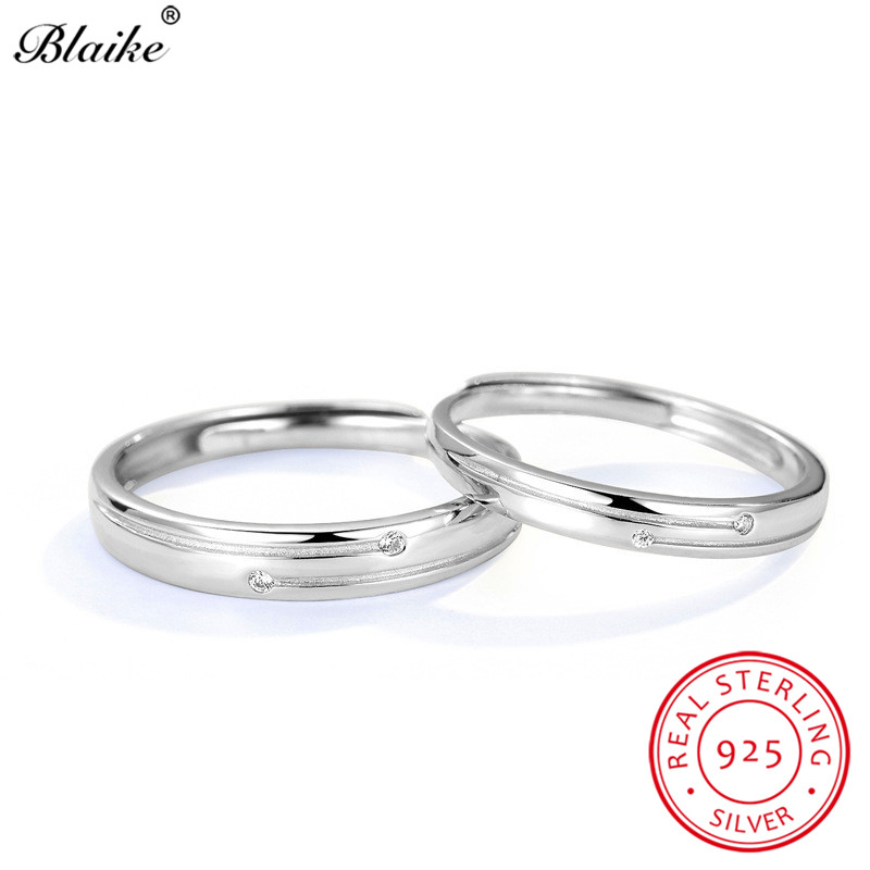 Blaike Real 925 Sterling Silver Rings For Couples White Zircon Crystal Round Rings For Women Men Opening Resizable Ring Female