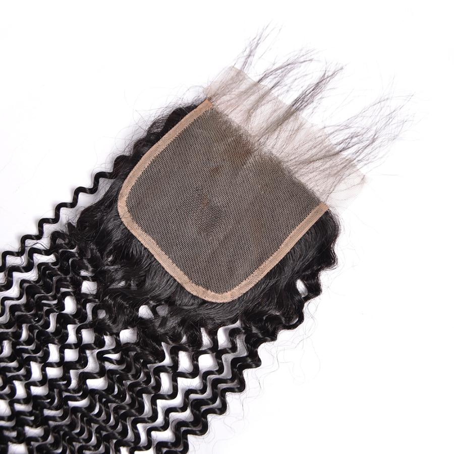 Tri / srednji / brezplačni del perujski kinky curly zaprtje 4x4 - Človeški lasje (za črne) - Fotografija 5