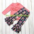 2016 мода придирчивый девочка рюшами рубашки наряды цветочные брюки девочка бутик одежды набор