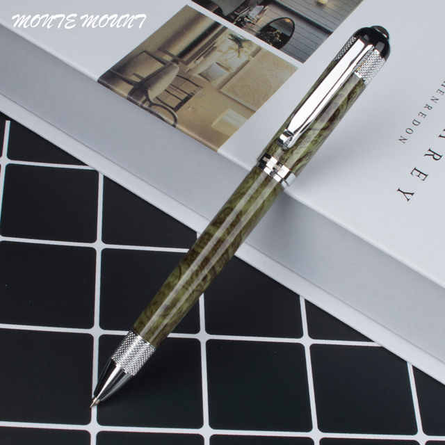 Monte Mount Green Silver Clip Pattern Design Ballpoint Pens Elegant Stationery Executive Office Supplies Wrting Pen