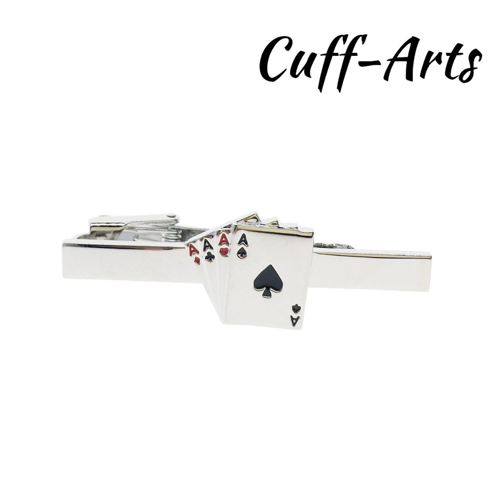 Tie Clip For Men 4 Aces plating Cards Tie Clip Novelty Men Tie Clip Male Business Gift for Mens Jewelry by Cuffarts T10039 in Tie Clips Cufflinks from Jewelry Accessories