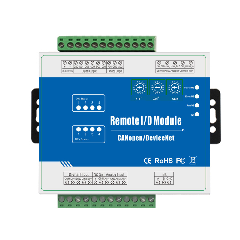 CANopen Remote I/O Module inbuilt Watchdog Supports High Speed Pulse Counter 4DI+4DO+4AI+2AO M120C