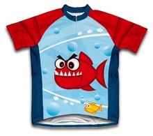 Agradable dientes del muchacho verano ciclismo jersey carretera de montaña bici bicicleta ropa deportiva de ciclismo de manga corta niño desgaste del ciclo clothing