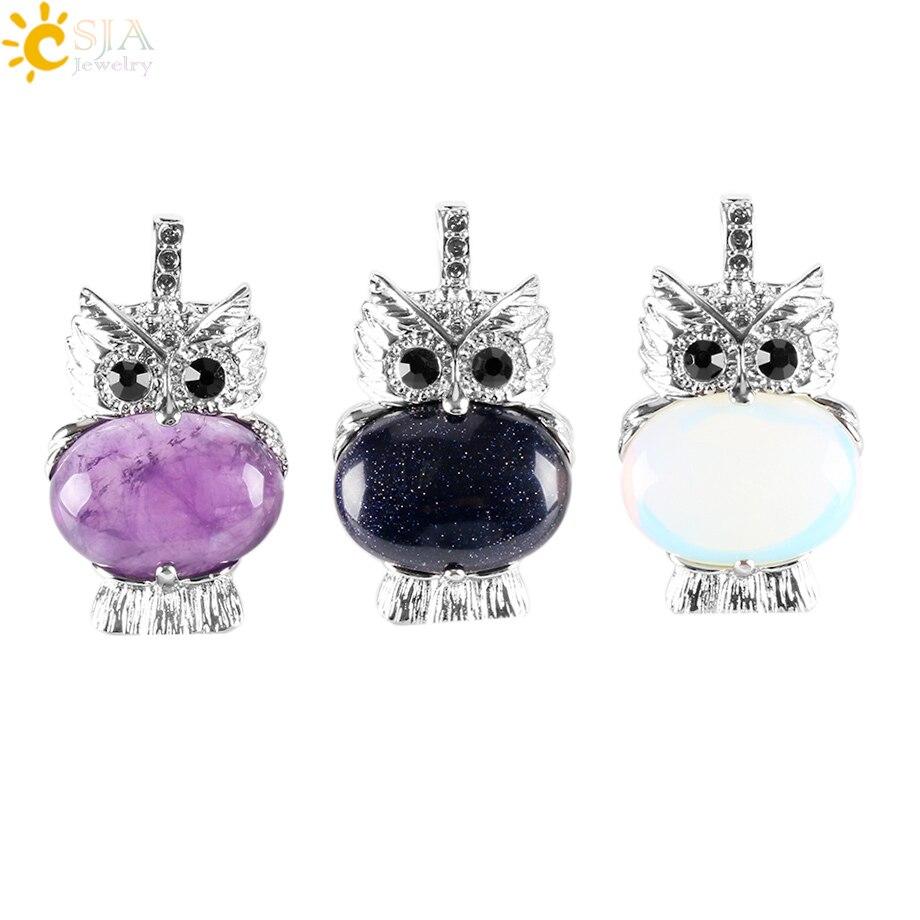 CSJA Natural Stone Cute Owl Animal Pendants For Necklaces White Crystal Pink Quartz Opal Lapis Lazuli Beads Reiki Jewellery E284