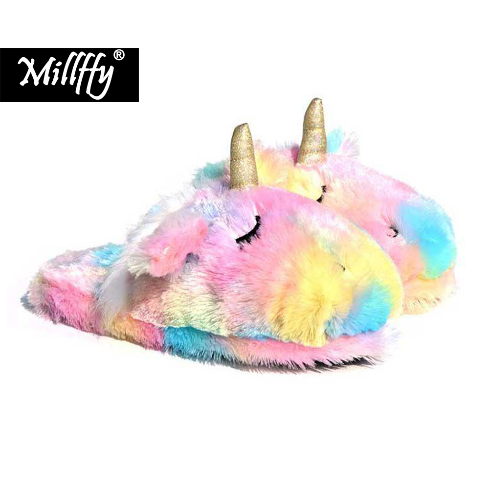 Millffy Unicorn Animal Slippers  Indoor Women Slippers  Cozy Plush Home Shoes  Cute Fluffy Girls Slippers-in Slippers from Shoes on Aliexpresscom  Alibaba Group