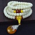 Tibet 108 peças Contas bodhi Budismo Branco Natural Pulseira Amuleto Da Sorte Bênção Presente Multi Círculo Pulseira com Pingente