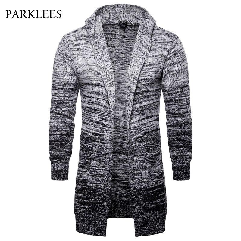 Long à capuche dégradé couleur Cardigan hommes automne nouveau classique chandail hommes Pull Homme décontracté à manches longues hommes hiver tricoté Pull