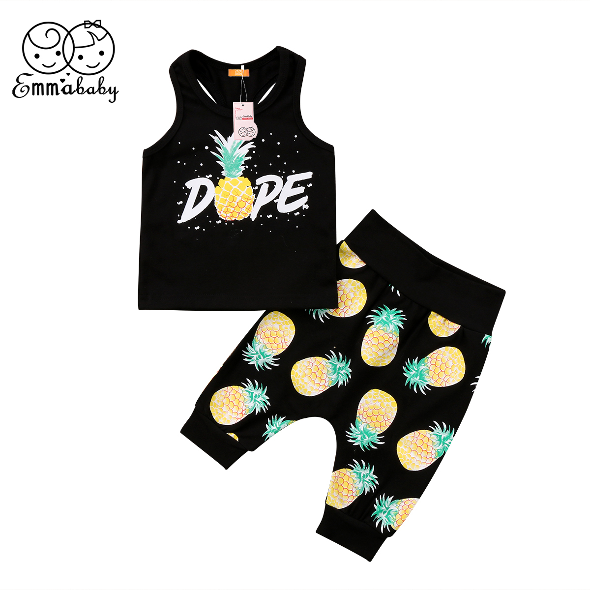 2018 new summer fashion 2Pcs Toddler Infant Kid Baby Boys Pineapple printed Clothing tank Tops+Pants casual kid cotton Outfits