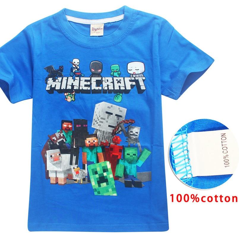 Heißer Verkauf Neue 2018 Cartoon Minecraft T Shirts Meine Welt Beliebte Baumwolle Tees Kurzarm Jungen Mädchen Top Kostüm Kinder Kleidung