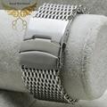 Новый 20 мм 22 мм 24 мм замена браслеты акула сетки из нержавеющей стали часы полоса безопасности Depolyment пряжки