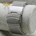 Nuevo 20 mm 22 mm 24 mm reemplazo pulseras de plata Shark Mesh Stainless Steel Watch Band correa de seguridad Depolyment hebilla
