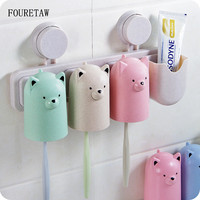 3/4 Pcs/set Cute Cartoon Green White Pink Bear Suction Wall Sucker Toothpaste Holders Bathroom Tumblers Toothbrush Gargle Cup