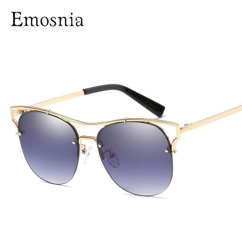 Emosnia 2018 New Cateye Sunglasses Women Men Luxury Goggle Design Top Brand Mirror Sunglass Metal Frame Oculos De Sol Feminina