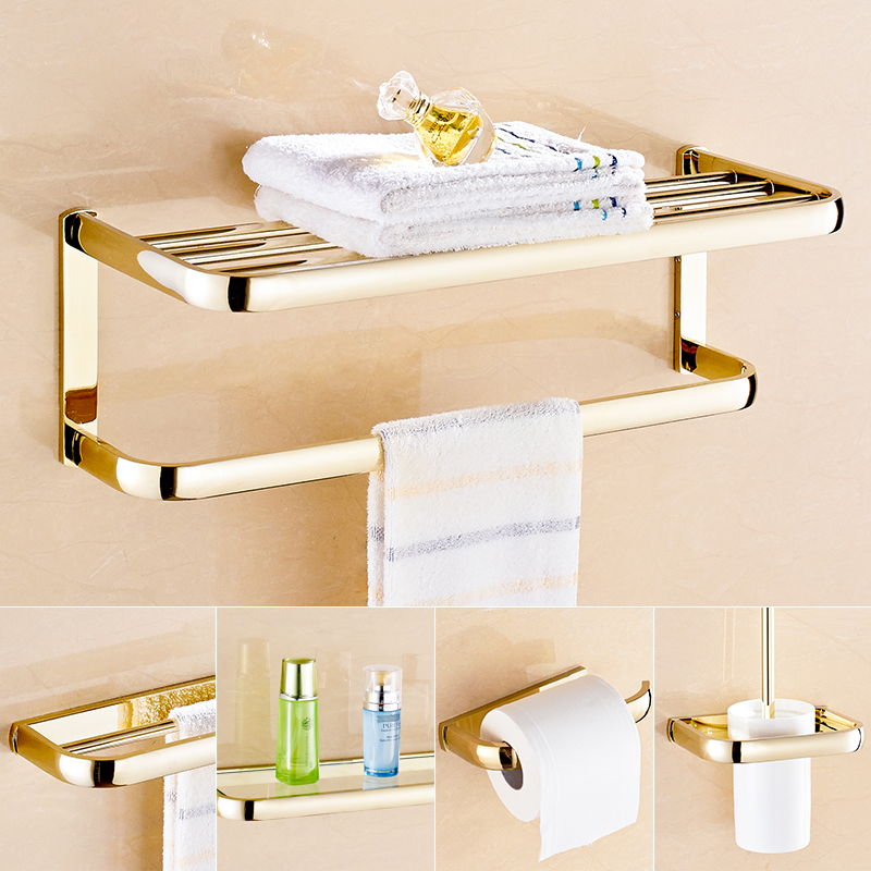 bathroom wall mounted golden bath towel holder towel bar paper holder toilet brush holder cosmetics glass