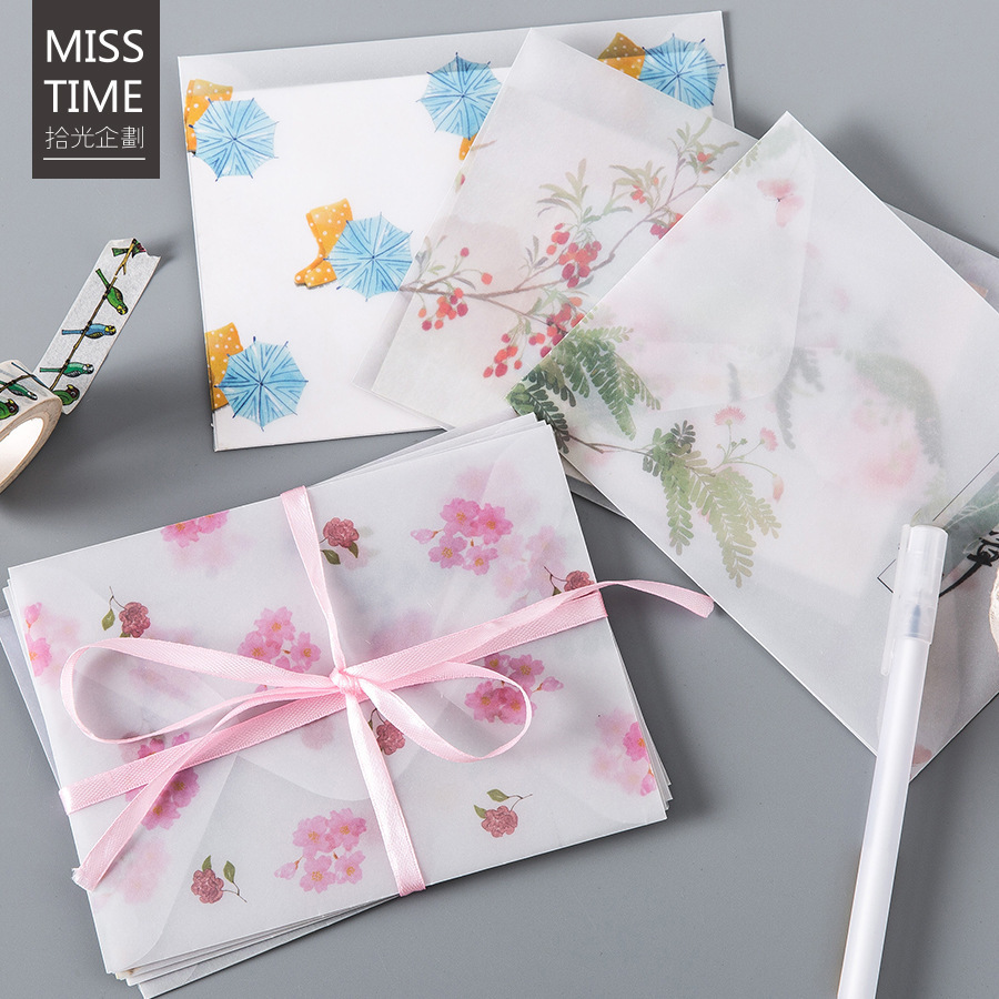 4Pcs/Pack Kawaii Flower Printing Series Parchment Paper Envelope For Gift Korean Stationery