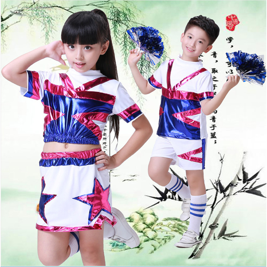 Team Competition Basketball Football Match Cheerleading Costumes Teenager Girls Skirt Cheerleader School Uniform for Kids Boys