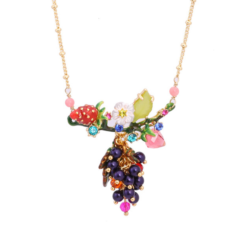 Romantic unique Strawberry grape gem pendant necklace for women charms enamel glaze fruit flowers women necklaces party jewelry unique mermaid with shell pendant necklace for women enamel glaze fashion choker necklaces lady party jewelry