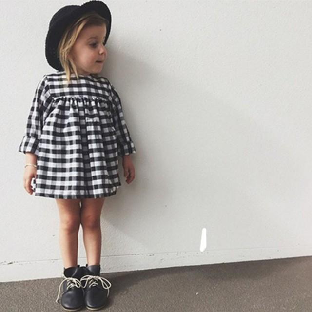 Crianças novo outono menina vestido xadrez vestido longo-manga vestido da menina do bebê para a menina roupa dos miúdos