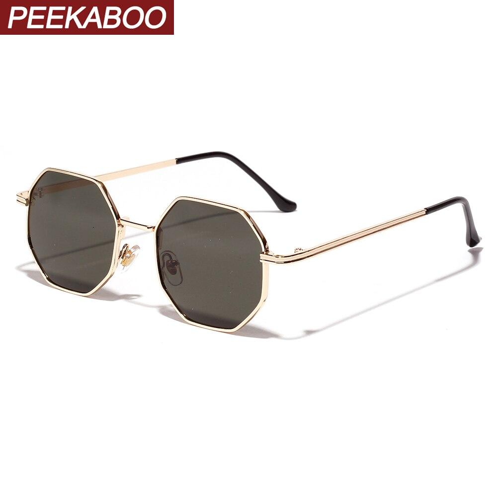 Peekaboo femmes vintage lunettes de soleil hommes métal or vert marron 2019 mâle octogonal lunettes de soleil pour dames polygone uv400