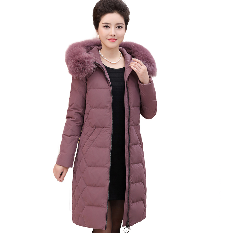 large size fur collar down coat 2017 Winter Jacket women white duck down jackets long thicken down hooded parka Outerwear QH0913