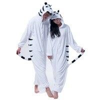 Volwassen Flanel Kigurumi Witte Tijger Dier Cosplay Kostuum Heren en Dames Onesie Pajama Voor Halloween Carnaval Gemaskerd
